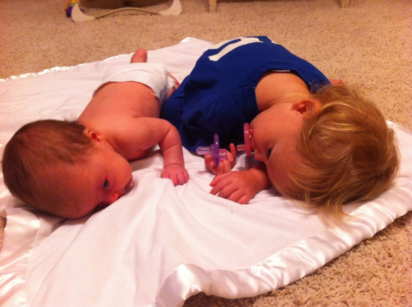 Sister tummy time.